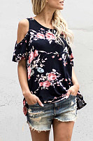 Round Neck  Flounce  Floral Printed T-Shirts
