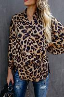 V Neck  Belt  Leopard  Blouses