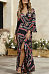 Deep V Neck  High Slit  Floral Printed  Bell Sleeve  Long Sleeve Maxi Dresses