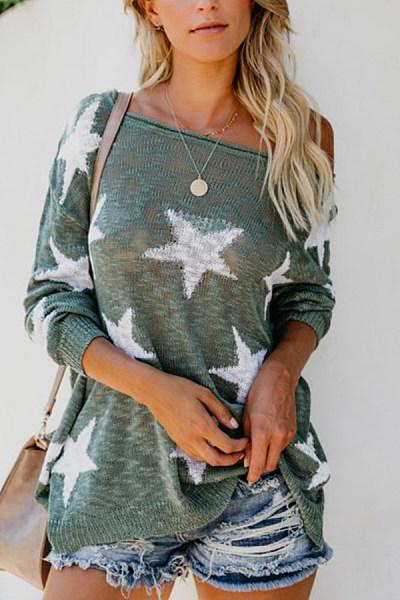 Round Neck  Geometric  Basic Sweaters