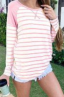 Round Neck Stripes Long Sleeve T-Shirts