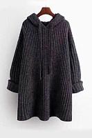 Hat Collar Long Sleeve Plain Sweater