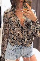 Deep V Neck  Animal Printed  Blouses