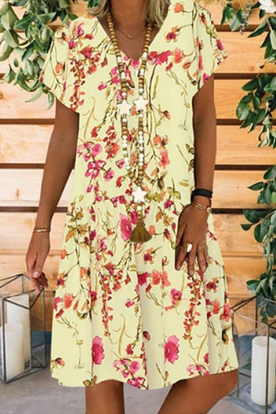V Neck Short Sleeve Floral Casual Dress