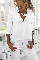 Lapel Long Sleeve Plain Elegant Blouses
