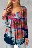 Loose Printed V-neck Draped T-shirt