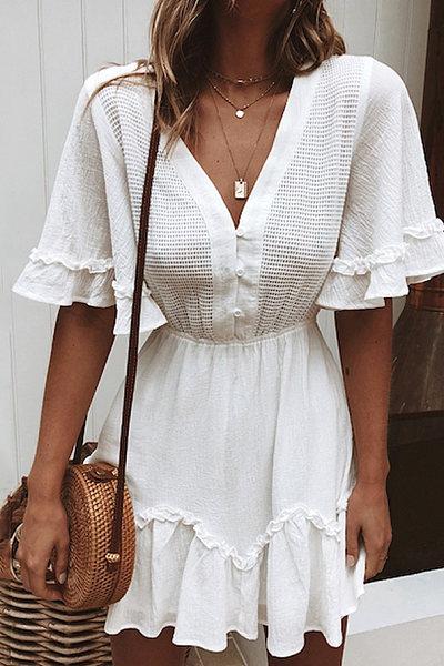 Women's Solid Color Flare Sleeve V-Neck Dress