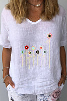 V Neck Print Short Sleeve Linen T-shirt