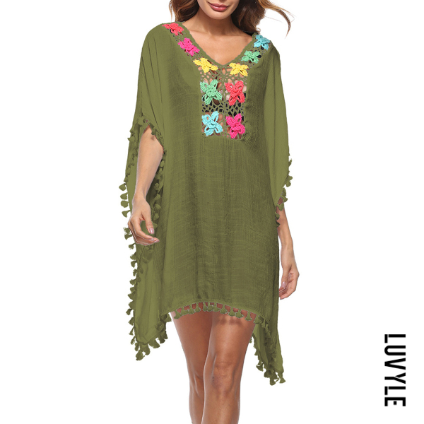 Green Hollow Out Casual Dresses Green Hollow Out Casual Dresses