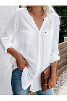 V Neck Patch Pocket Loose Fitting Shirts