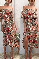 Off Shoulder  Slit  Floral Printed  Short Sleeve Maxi Dresses