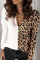 Casual Leopard Print Hit Color V-neck Long Sleeve T-shirt