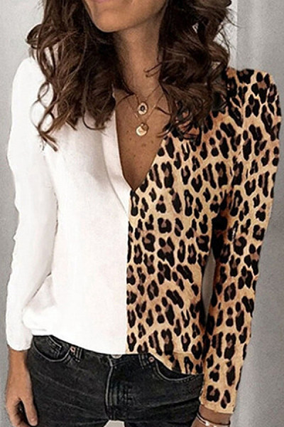 Casual Leopard Print Hit Color V-neck Long Sleeve T-shirt
