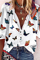 Butterfly-print Lapel Single-breasted Shirt
