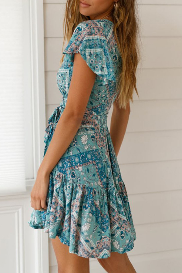 Bohemian Soul, Cute printed bohemian beach dress in printed blue