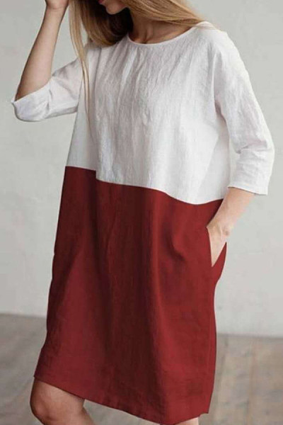 Round Neck  Loose Fitting  Patchwork  Short Sleeve Casual Dresses