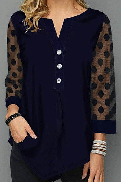 Hollow Out Polka Dot Casual T-shirt