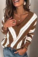 Casual V Neck Long Sleeve Striped Sweater
