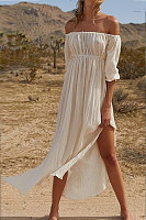 Classy Off The Shoulder Plain Open Fork Dress