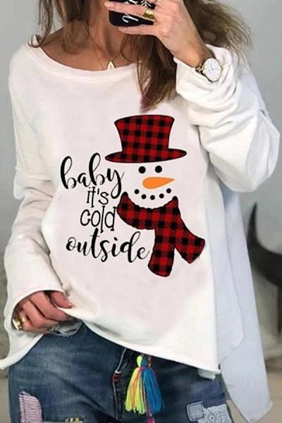 Christmas Printed Single Shoulder T-Shirt