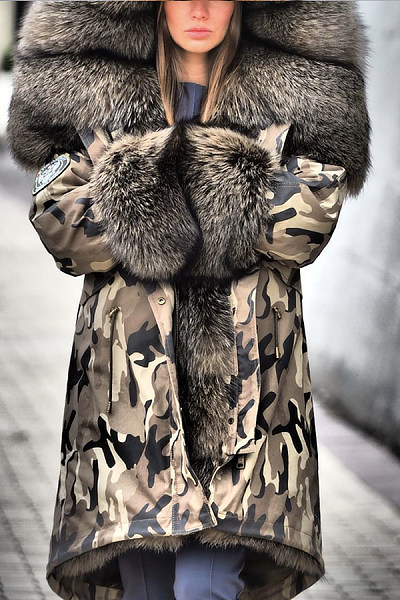 Women's fashion camouflage printed fur one long coat