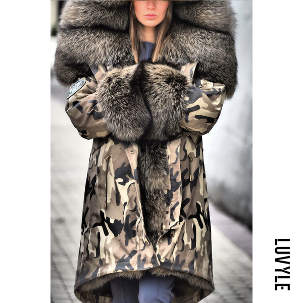 Women's fashion camouflage printed fur one long coat - from $76.00