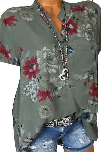 Short Sleeve Loose Floral Pattern Blouse