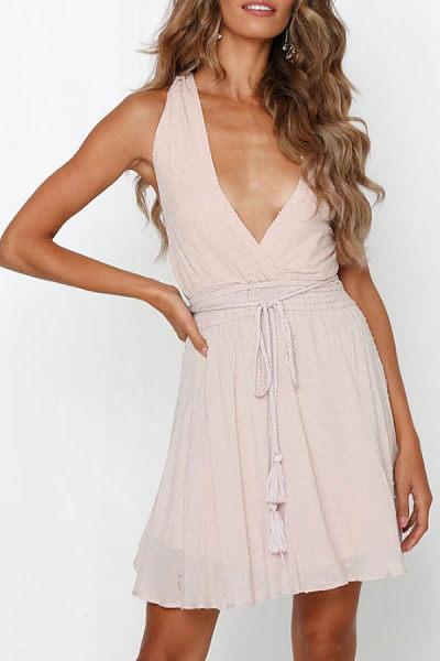 Sexy V-Neck Open Back Straps   High Waist Slim Strap Dress