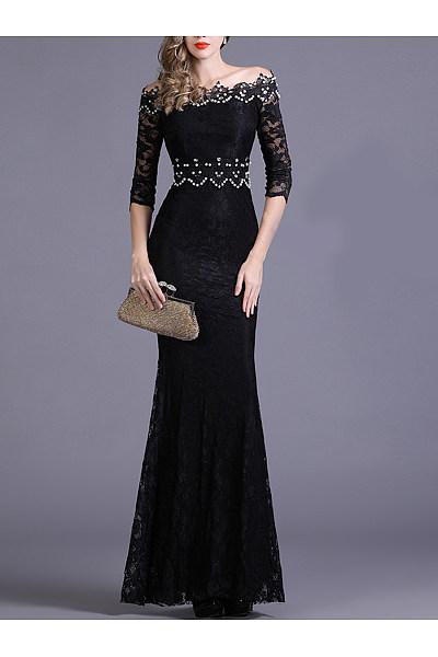 Off Shoulder  Beading  Plain  Lace Evening Dress