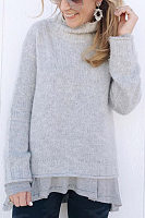 Short High Collar Long Sleeve Plain Sweater