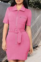 Fold Over Collar  Zipper  Plain  Short Sleeve Bodycon Dresses