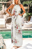 Crew Neck  Floral Printed  Sleeveless Maxi Dresses