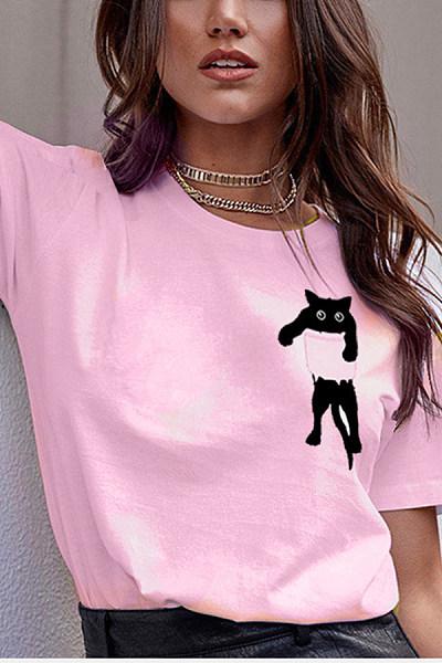 Round Neck Short Sleeve Cat T-shirt