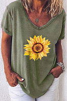 Sunflower Printed V Neck T-shirt