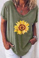 Sunflower Printed V Neck T-shirt