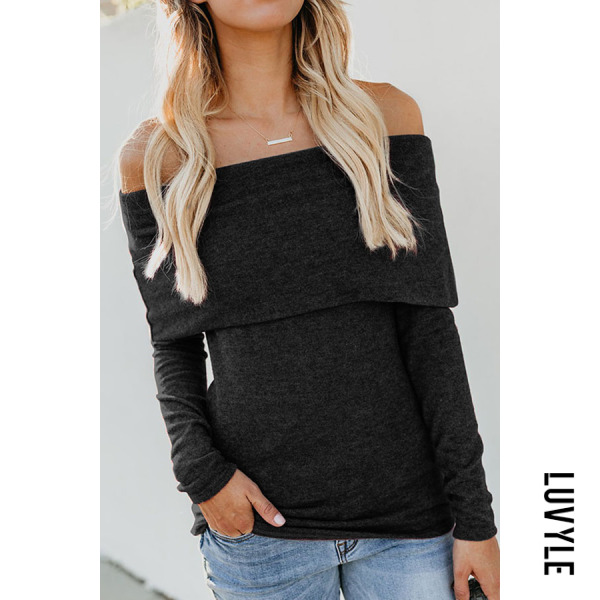 Black Fashion Off Shoulder Plain Long Sleeve T-Shirts Black Fashion Off Shoulder Plain Long Sleeve T-Shirts
