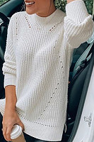 White round neck loose casual sweater