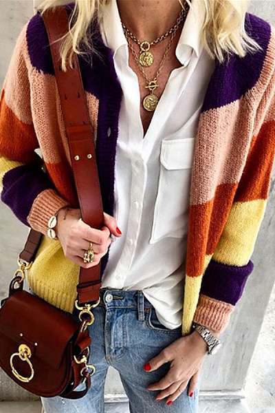 Casual Long Sleeve Patchwork Cardigan