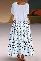 A Casual Round Collar Dot Print Dress
