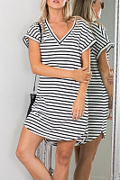 V Neck Striped Shift Casual Dresses