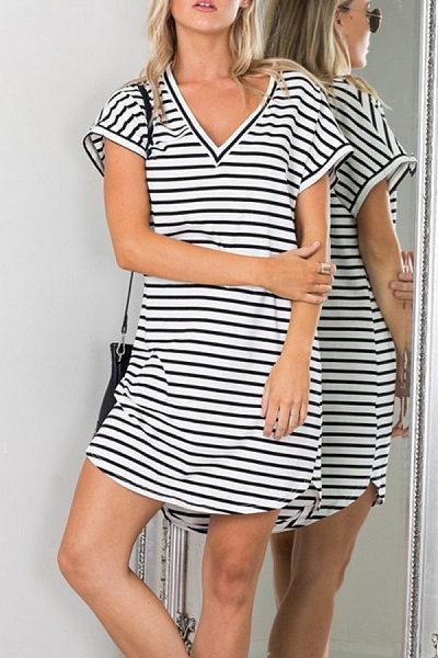 V Neck Striped Shift Casual Dresses