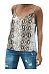 Spaghetti Straps Snake Printed Patchwork Camis