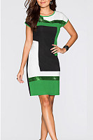 Round Neck  Sequin  Glitter  Color Block  Short Sleeve Bodycon Dresses