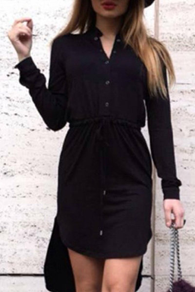 Fold Over Collar Casual Dress