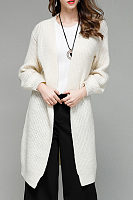 Pure Color Collarless Cardigan Sweaters