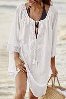 Bohemian V-Neck Solid Color Cotton-Trimmed Long-Sleeved Dress