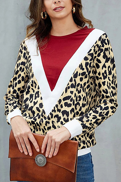 Women Round Neck Leopard Color Matching T-shirt