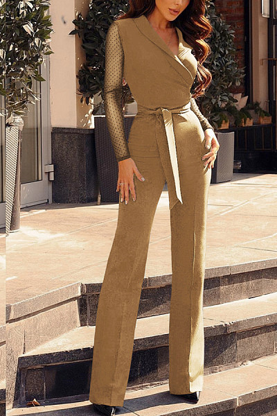 V Neck  Plain  Long Sleeve Jumpsuits