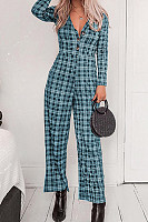 V Neck  Decorative Buttons  Gingham  Long Sleeve Jumpsuits