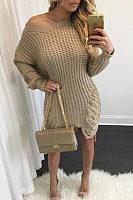 Scoop Neck  Asymmetric Hem Fringe  Plain Casual Dresses